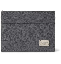 Dolce And Gabbana Pebble Grain Leather Cardholder Dark Gray