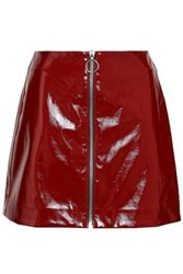Nicholas Woman Zip Detailed Vinyl Mini Skirt Burgundy