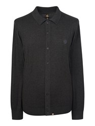 Pretty Green Men's Mandeville Knitted Shirt Charcoal