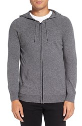 Michael Stars Men's Zip Front Wool Blend Hoodie Derby Grey