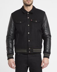 Levi's Black Leather And Wool Trucker Jacket