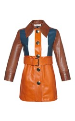 Marni Color Block Leather Jacket Multi