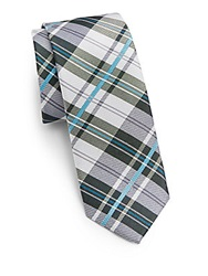 Original Penguin Abner Plaid Silk Tie Green
