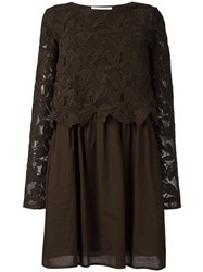 See By Chloe Embroidered Top Dress Green