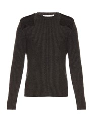 Valentino Felt Patch Wool And Cashmere Blend Sweater Charcoal