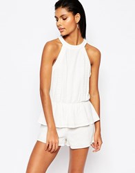 Moon River Ruffle Playsuit With Bow Tie Back Ivory White