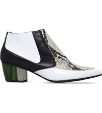 Rodarte Crocodile Effect Leather Ankle Boots White Blk