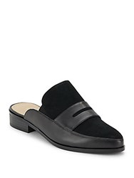 Saks Fifth Avenue Leather Slip On Shoes Black