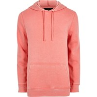 River Island Pink Burnout Jersey Hoodie