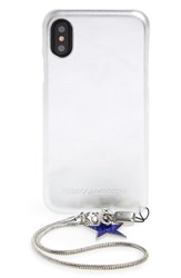 Rebecca Minkoff Metallic Leather Iphone X Wristlet Case With Charms Metallic Metallic Silver