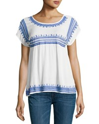 Romeo And Juliet Couture Embroidered Gauze Peasant Top White Blue