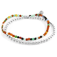 Anchor And Crew Multicoloured Agate Harmony Silver Stone Bracelet