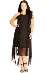Plus Size Women's City Chic 'Lush Layer' High Low Halter Style Maxi Dress Black