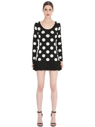 Boutique Moschino Polka Dot Wool Jacquard Knit Dress