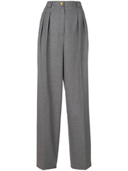 Chanel Vintage Pleated Straight Leg Trousers Grey
