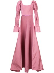 Christian Siriano Puffed Sleeve Floor Length Cape Back Top Silk Pink Purple