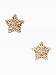 Kate Spade Bright Star Statement Studs Clear Gold