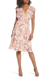 Charles Henry Flutter Sleeve Wrap Dress