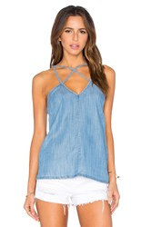 Rvca Haze Cut Out Tank Chambray