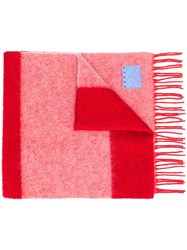Kenzo Striped Wool Scarf Red