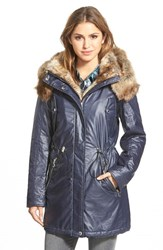 Women's Marc New York 'Lauren' Faux Fur Trim Drawstring Waist Parka Denim