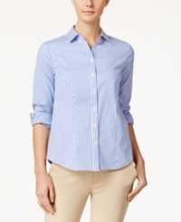 Charter Club Striped Shirt Only At Macy's Worldy Blue