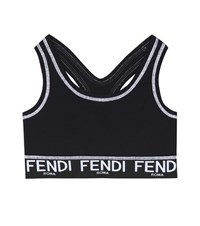 Fendi Printed Crop Top Black