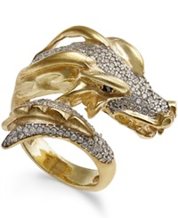Macy's Diamond Dragon Bypass Ring 1 Ct. T.W. In 14K Gold Plated Sterling Silver
