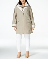 Jones New York Plus Size Water Resistant Hooded Layered Raincoat Beach Tan
