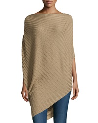 Max Studio Asymmetric Rib Knit Poncho Camel Twee