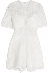Alexis Brias Crocheted Lace Playsuit White