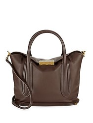 Zac Posen Top Clasp Leather Tote Dark Brown