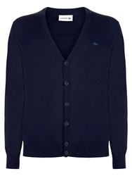 Lacoste Cotton Jersey Cardigan Navy