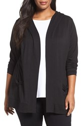 Sejour Plus Size Women's Hooded Open Front Cardigan