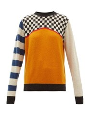 The Elder Statesman Checked Cashmere Sweater Ivory Multi