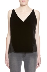 J Brand 'Lucy' Velvet Front Camisole Black