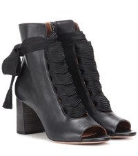 Chloe Harper Peep Toe Leather Ankle Boots Black