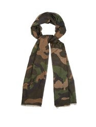 Valentino Camouflage Print Cotton And Silk Blend Scarf Green Multi