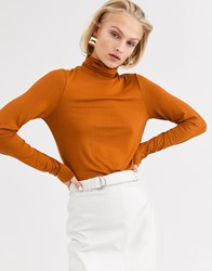 Only Roll Neck Long Sleeve Top Brown