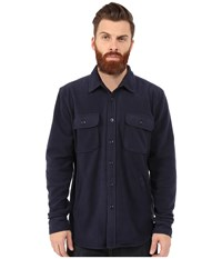 Obey Lafayete Fleece Shirt Dark Navy Men's Long Sleeve Button Up