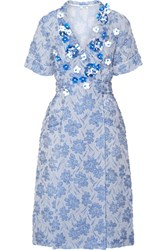 Miu Miu Floral Appliqued Silk Blend Cloque Wrap Dress Light Blue
