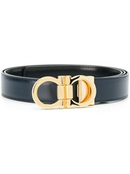 Salvatore Ferragamo Double Gancio Buckle Belt Calf Leather Blue