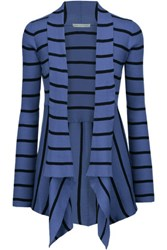 Autumn Cashmere Draped Striped Ribbed Cotton Cardigan Blue