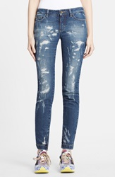 Dolcegabbana Destroyed Skinny Jeans Blue