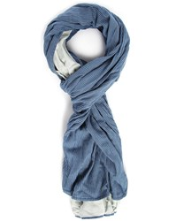 Scotch And Soda Indigo Scarf With Blue Stripes