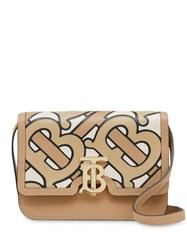 Burberry Small Monogram Intarsia Leather Tb Bag Neutrals