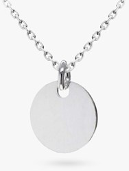 Ibb Personalised Small Sterling Silver Disc Pendant Necklace Silver