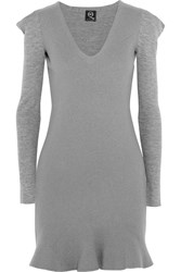 Mcq By Alexander Mcqueen Flared Wool Mini Dress Gray