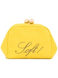 Moschino Vintage Soft Embroidered Clutch Yellow And Orange