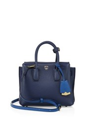Mcm Milla Mini Two Tone Leather Tote Navy Blue Black